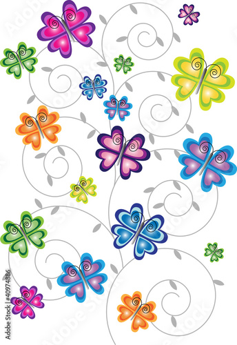 Spoed Fotobehang Abstract bloemen gradient color butterflies and floral motive isolated