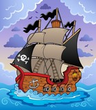 Pirate ship in stormy sea