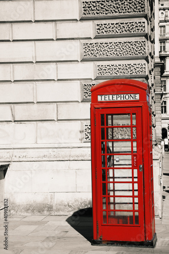 Poster Rouge, noir, blanc London Red Telephone Booth