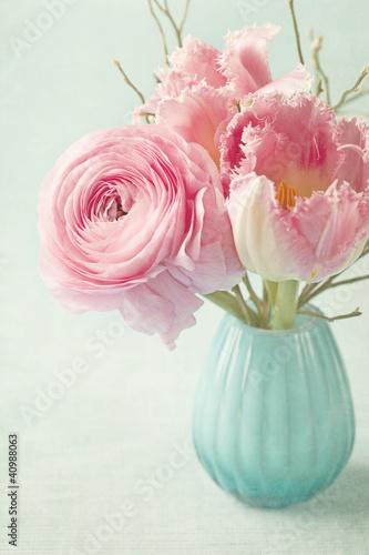 Foto-Plissee - Pink flowers (von Elena Schweitzer)