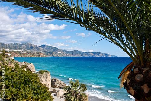 Obraz na płótnie Nerja Beach and City - Spain
