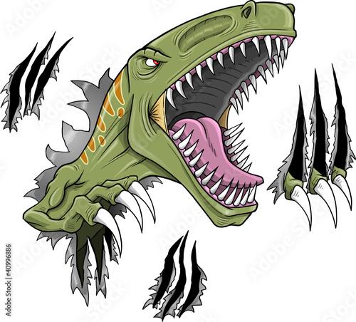 Garden Poster Cartoon draw Velociraptor Dinosaur Vector Illustration