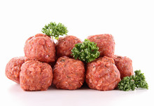 Isolated Raw Meatballs