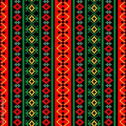 Bright textile ornamental seamless pattern at black background