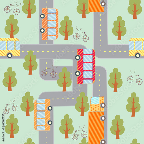 Poster Op straat city traffic seamless pattern