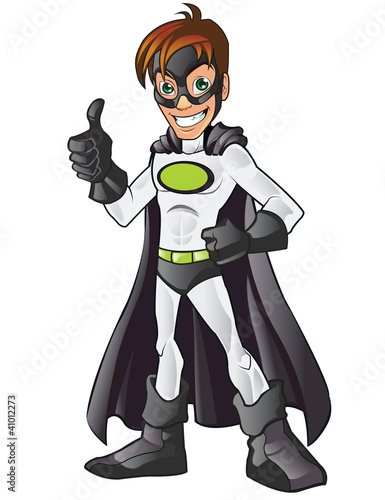 Foto op Canvas Superheroes White Superhero Cartoon Showing His Thumb Up