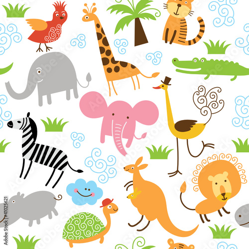 Ingelijste posters Zoo seamless pattern with cute animals
