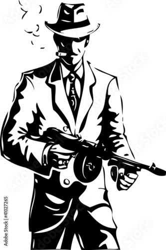 drawing - the gangster - a mafia Fototapet
