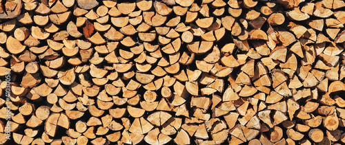 Stickers pour portes Texture de bois de chauffage Pile of wood cut for fireplace