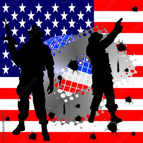 Tuinposter Militair Soldatensilhouetten vor amerikanischer Flagge
