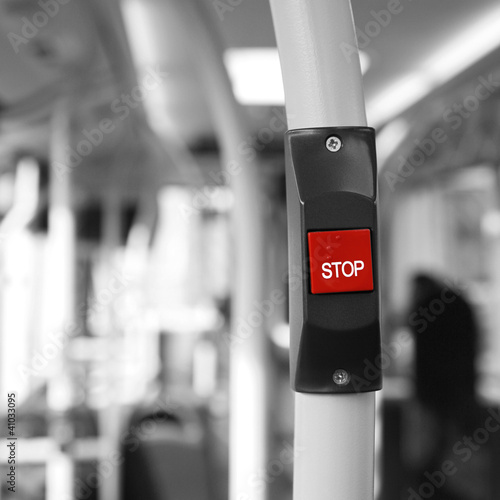 Foto op Canvas Rood, zwart, wit Bus Stop Button