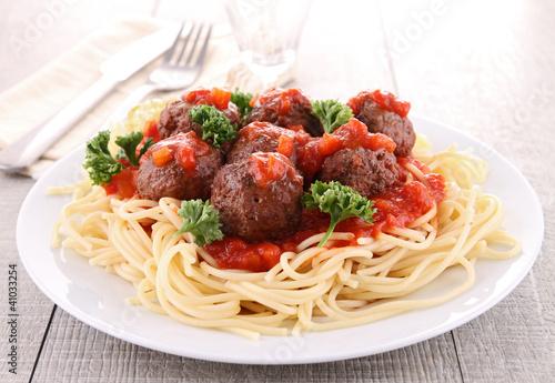 Fotografie, Obraz  spaghetti and meatball