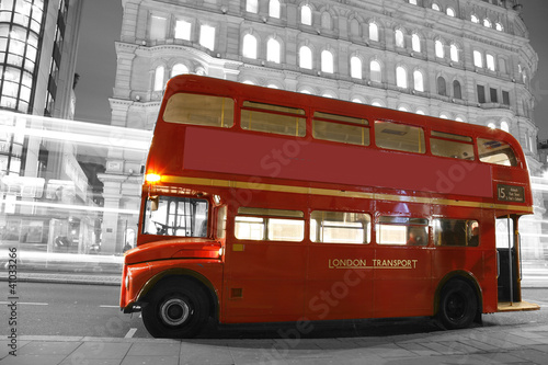 Poster Rouge, noir, blanc London Route Master Bus