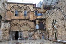Main Entrance To The Church Of The Holy Sepulchre In Jerusalem,