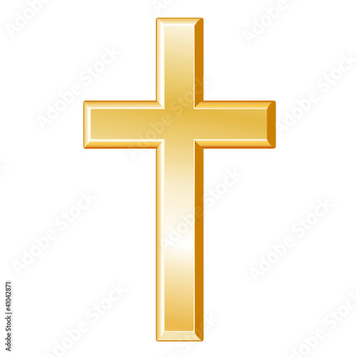 Fotografie, Obraz  Christianity Symbol, gold cross, crucifix, Christian faith icon