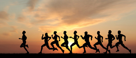Marathon, black silhouettes...