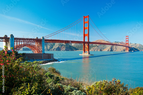 The Golden Gate Bridge in San Francisco with beautiful blue ocea Canvas Print