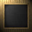 Black empty chalk board wooden frame Square on the wall