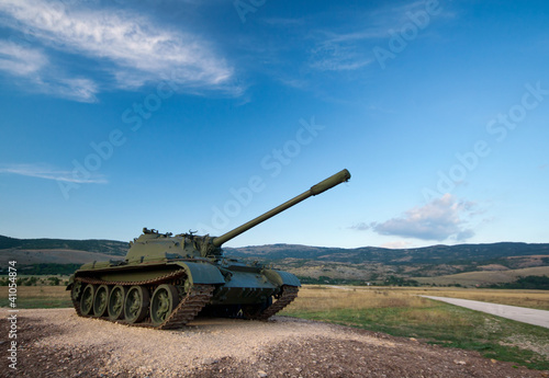 Photo  exhibited a tank T-55
