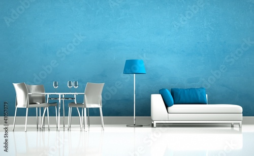 Wohndesign Sofa Mit Esstisch Blau Buy This Stock Photo And