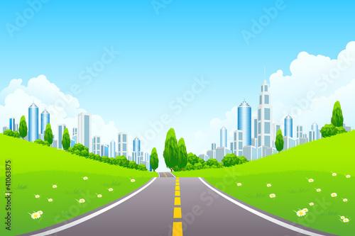 Fototapeta City Landscape with Trees and Road obraz na płótnie