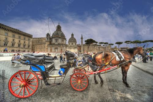 Fotomural Roma, piazza Venezia con carrozza