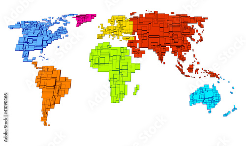 Garden Poster World Map Colored World, cube design