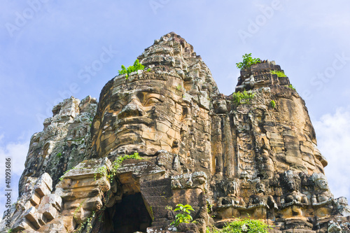 Foto op Canvas Entrance in Angkor Area on Blue Sky Background