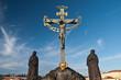 Religious detail of Charles' Bridge in Prague, Czech Republich