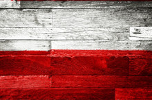 Poland Flag Painted On Old Wood