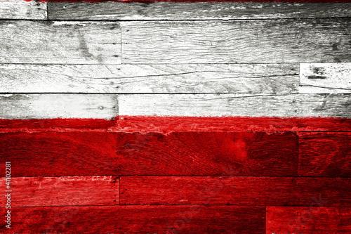 Fototapeta poland flag painted on old wood