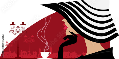 Stylish woman in a big hat at cafe Wallpaper Mural
