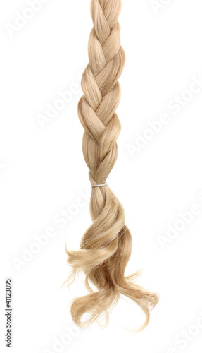 Fotografia, Obraz  Blond hair braided in pigtail isolated on white