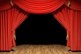 Red stage theater velvet drapes - 41149430