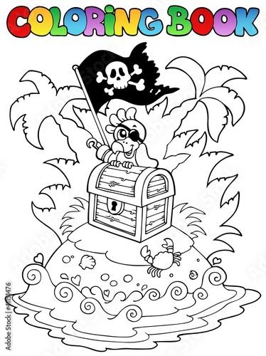 Tuinposter Doe het zelf Coloring book with pirate topic 3