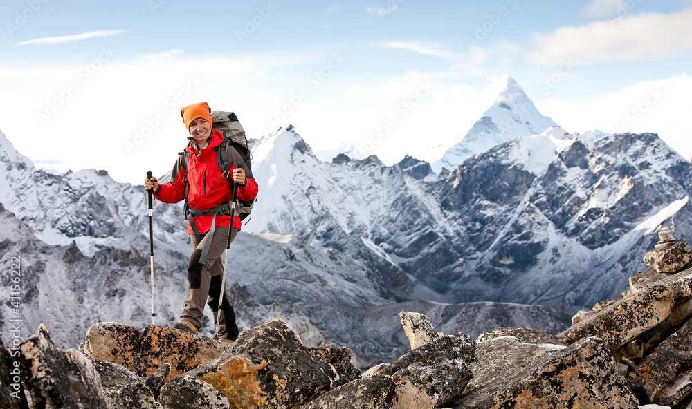 Fototapety, obrazy: Hiker in Himalaya mountains