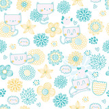 Cute seamless pattern with funny cartoon cats, birds and flowers