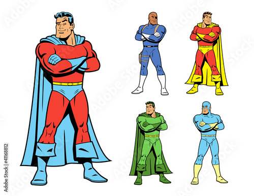 Foto op Canvas Superheroes Classic Superhero and Cool Variations Image Set