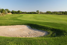 Sand Bunker On The Golf Course...