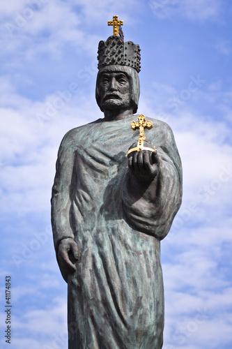 Statue of Emperor Barbarossa in Hamburg Canvas Print