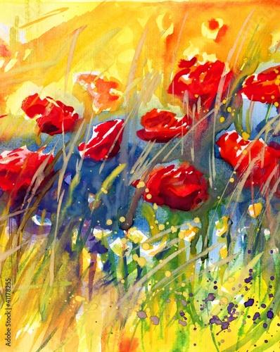 Photo sur Toile Inspiration painterly piękne czerwone maki na łące