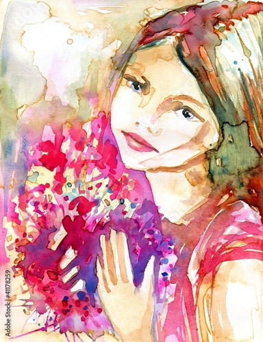 Canvas Prints Painterly Inspiration piekna młoda dziewczyna zbukietem różowych kwiatów