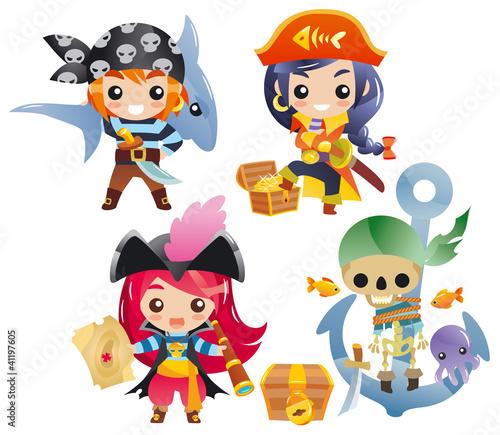 Photo Stands Pirates Cute cartoon pirates Set 2