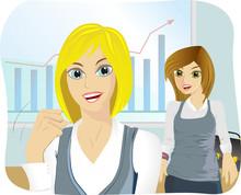 Kobiety Biznesu Na Tle Tablicy...