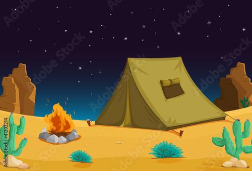 Poster Indiens Camping at night