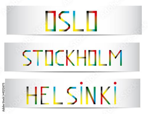 Photo  bannières Oslo-Stockholm-Helsinki
