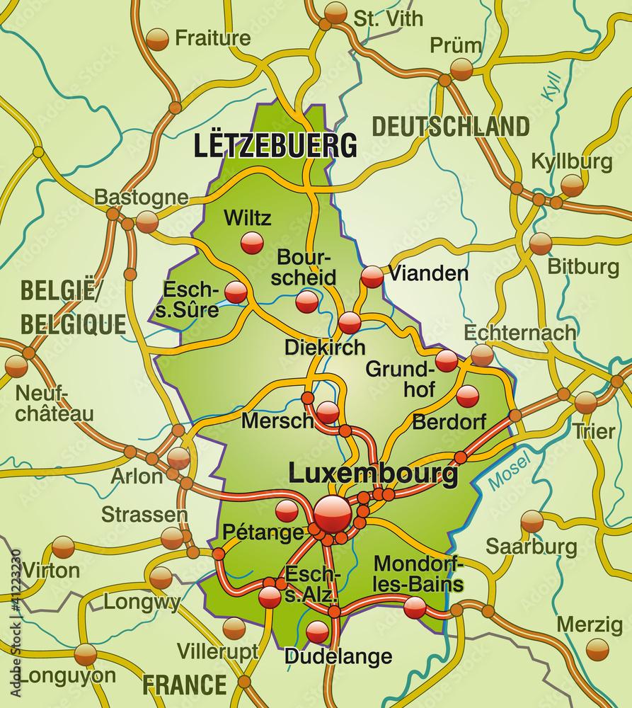 Gamesageddon Stock Autobahnkarte Von Luxembourg Mit Nachbarlandern