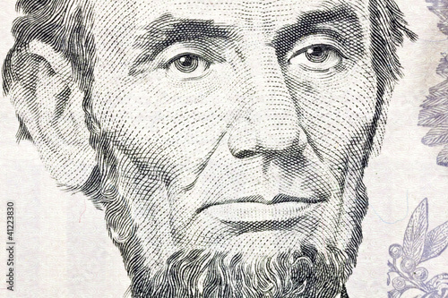 Photographie  Honest Abe Lincoln Macro Close Up US Five Dollar Bill