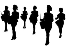 Girls In Uniform With Drums
