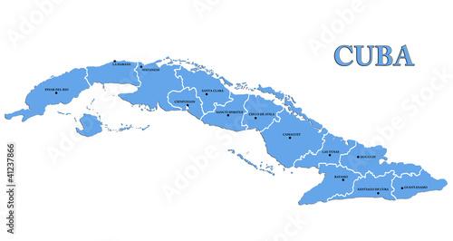 Map of Cuba Tablou Canvas